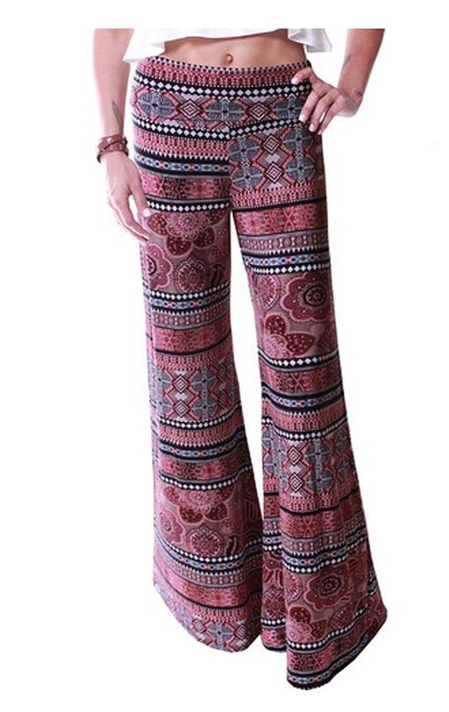 iecool Women's Smocked Waist Baggy Bohemian Harem Loose Leg Pants