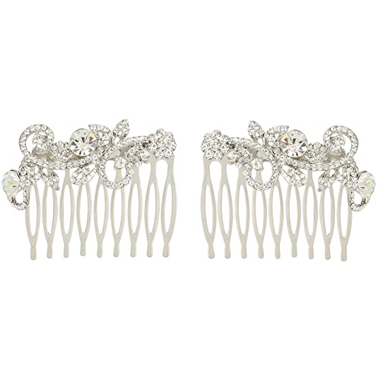 Amazon.com: EVER FAITH® Gold-Tone Austrian Crystal Wedding Floral Leaf Vine Hair Comb Set of 2 Clear: Jewelry