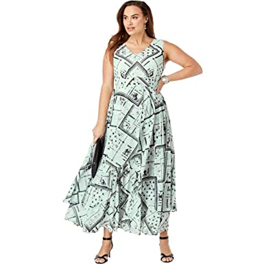 3a8b3f5988 Jessica London Women s Plus Size Flyaway Maxi Dress at Amazon Women s  Clothing store