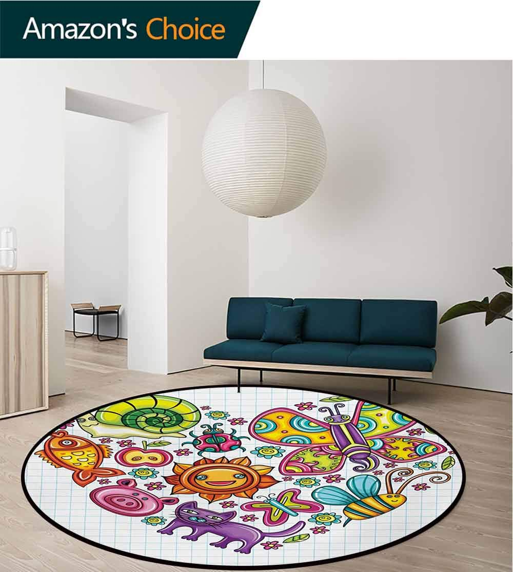 RUGSMAT Doodle Round Rug,Flora and Fauna Themed Heart Animals Birds and Plants Bumblebee Ladybug Leafs Cat Carpet Door Pad for Bedroom/Living Room/Balcony/Kitchen Mat,Diameter-71 Inch