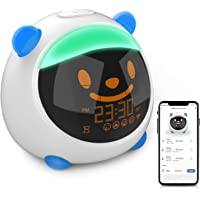 KAJURY Kids Alarm Clock, Children's Trainer with Smartphone Control, Night Light and Sleep Sounds Machine(Blue)