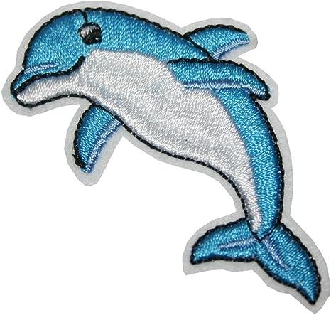 Blau Aufn/äher B/ügelbild Aufb/ügler Iron on Patches Applikation Delfin Delphin Kinder