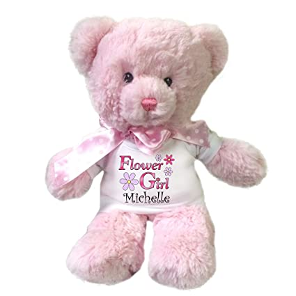 Amazon Com Personalized Pink Flower Girl Teddy Bear Toys Games