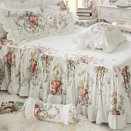 Homie Colcha de Volantes con Estampado Floral 100% algodón Satinado cubrecama sábana Hecha a Mano cubrecama Falda casa Ropa de Cama, Cama de 180x200cm: Amazon.es: Hogar