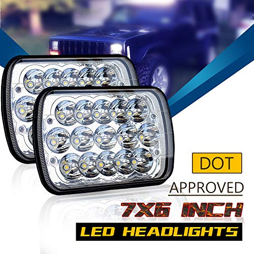 "DOT 5X7 7""X6"" Led Headlights Sealed Beam Hi/Lo Replace H6054 Hid Xenon Halogen Headlamps Jeep Wrangler Grand Cherokee XJ YJ 4x4 Toyota Tacoma pickup Dodge Ram Ford F250 E350 Chevy Corvette van"