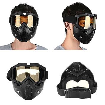 Sedeta Casco de moto Riding Goggles Glasses Ajustable antideslizante Correa Con mascarilla extraíble Gafas calientes desmontables