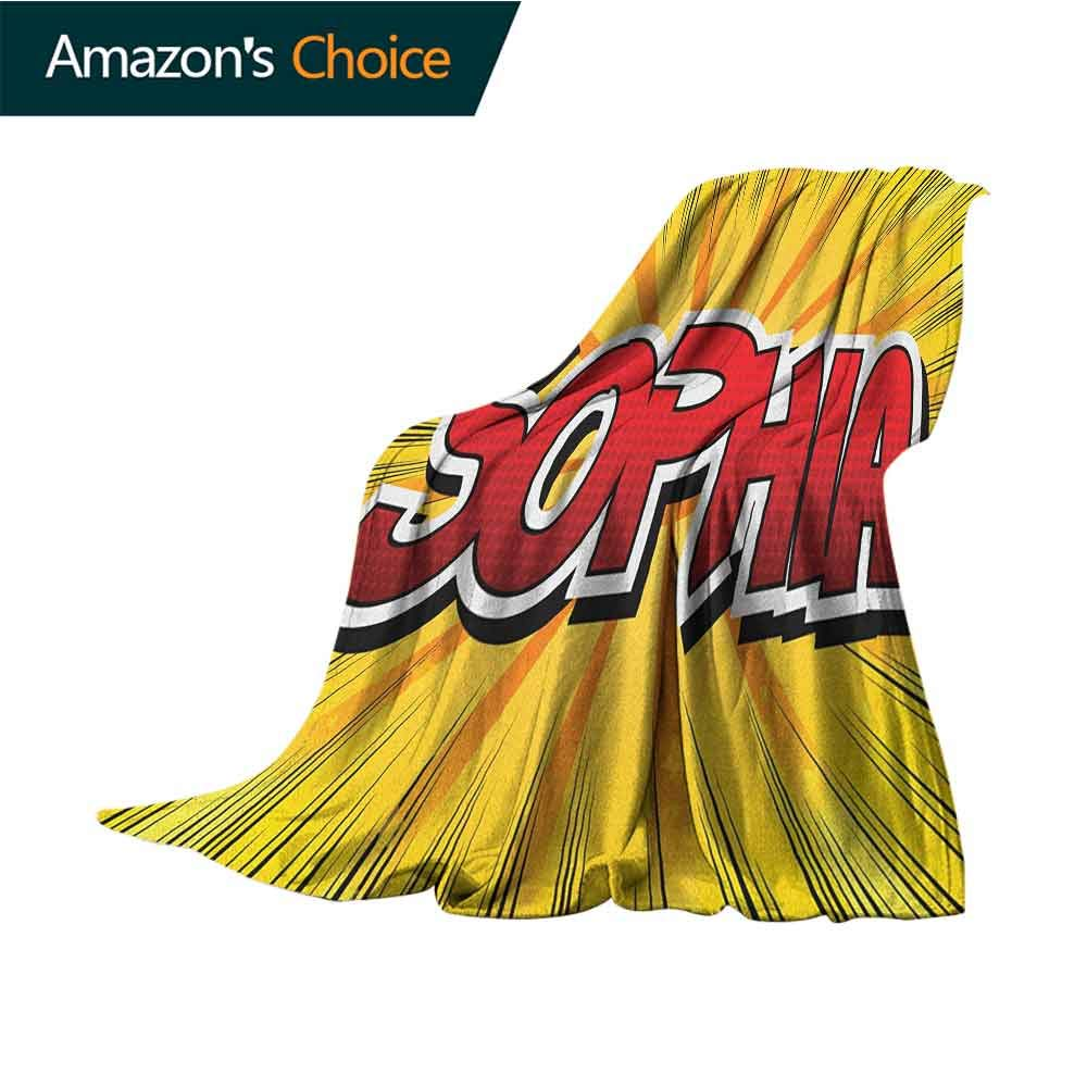Sophia King Size Blanket,One of The Most Popular Girls` Given Names in Western World Retro Comic Super Soft Light Weight Cozy Warm Plush,30'' Wx50 L Yellow Red and Black