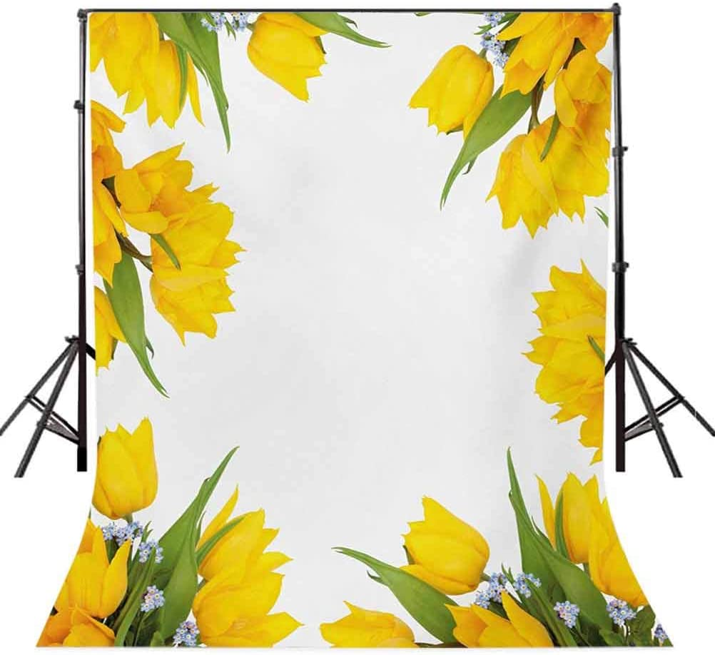 Yellow Flower 10x12 FT Photo Backdrops,Abstract Frame Yellow Tulip and Blue Forget Me Knot Blooms Bouquets Background for Baby Shower Birthday Wedding Bridal Shower Party Decoration Photo Studio