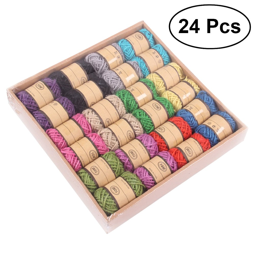 Toyvian 24PCS DIY Natural Jute Twine Hemp Rope Packing Materials Durable String for Gardening Applications (12 Assorted Colors)