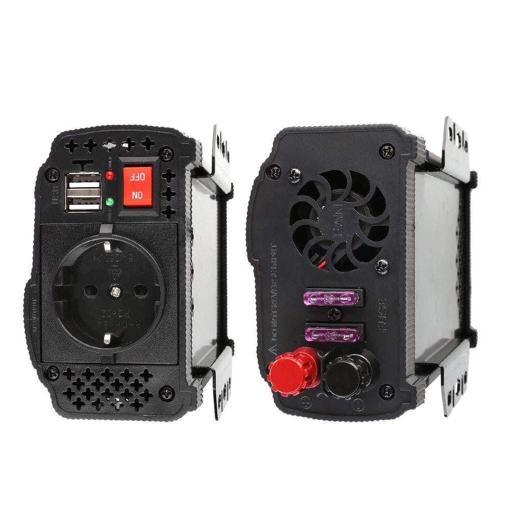 Prise Allume-Cigare MVPower Convertisseur de Tension 300 W//600 W//1000 W DC 12 V vers AC 220 V avec Certification CE\ROHS 2 Ports USB IKS Clips de Batterie de Voiture