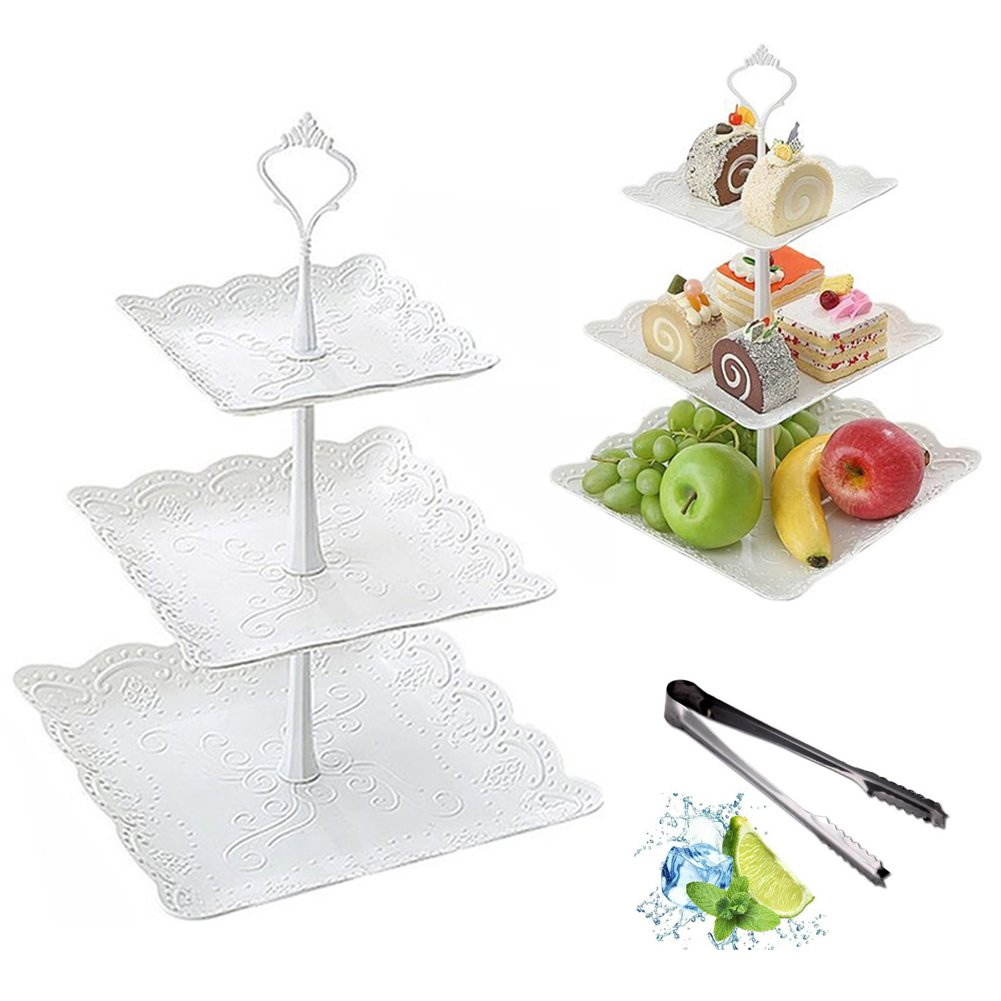 3-Tier Fruit Plate Platic Cake Stand Party Cupcake for Wedding &Home&Party Serving Platter Tea Party, or Birthday Party and Clip as Gift