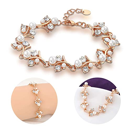 Image Unavailable. Image not available for. Color  Mytys Pearl and Crystals  Bracelet Rose Gold ... 8497b9e6eb