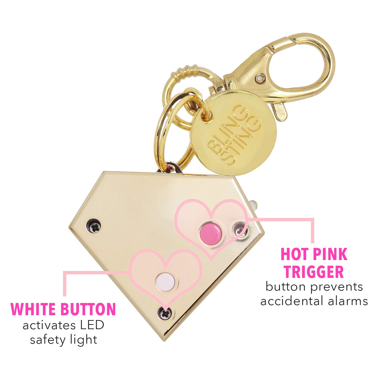 Personal Safety Alarm for Women - Ahh!-larm! Self-Defense Personal Panic Alarm Keychain for Women with LED Safety Light and Clip, Gold Gemstone Diamond by BLINGSTING (Image #3)