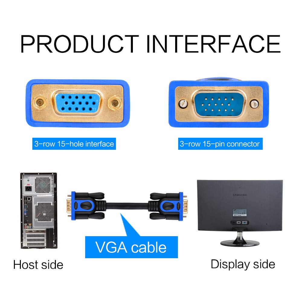 HD TV etc VGA Extension Cable 10 Feet SVGA Male to Female Cable M//F Gold Plated Connector Supports 1080p HD Display for PC Projector