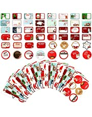 240 Pieces Sticker, 30 Sheets Christmas Labels Self Adhesive Gift Tags Xmas Gift Stickers Tag Stickers for Gift Bags Envelope Wrapping Paper