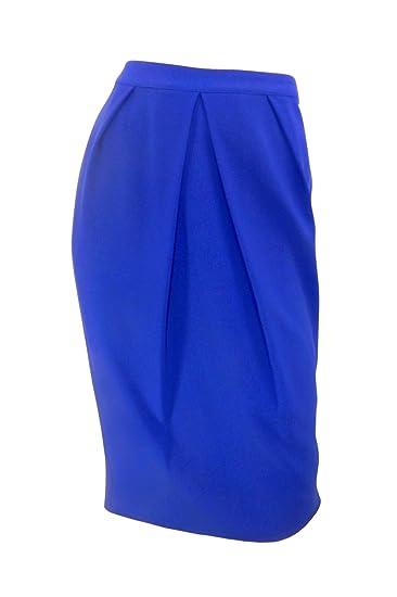 Marks & Spencer Azul Cobalto crepé falda de tubo con suave ...