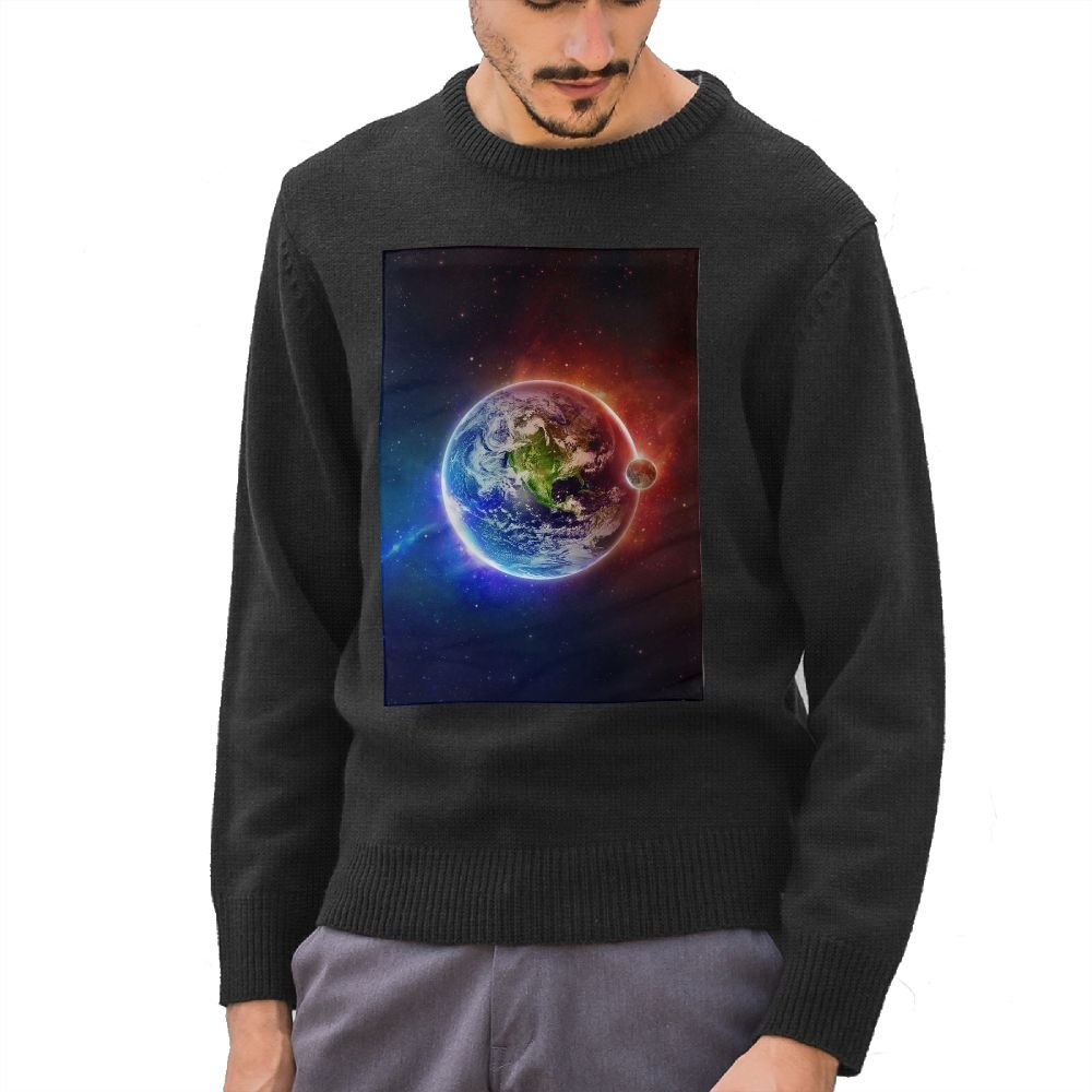 Mr.Roadman Mens Red And Blue Earth Funny Pattern DIY Customized Print Fashion O-Neck Sweater Jumpers Pullover