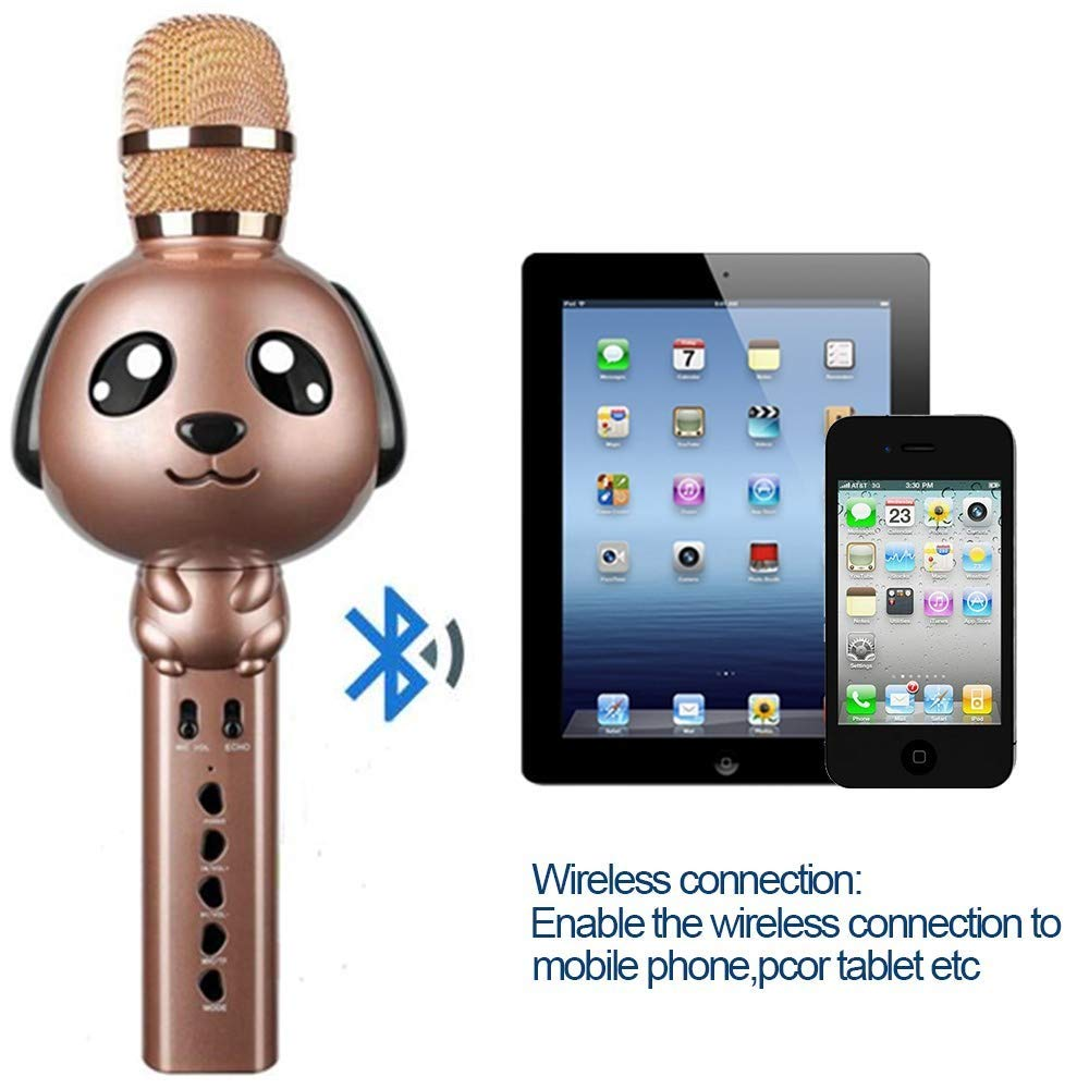 Wireless Karaoke Microphone for Kids Bluetooth Mic Portable Handheld Karaoke Machine for Kids Singing KTV Parties Boys Girls Parties Christmas or Birthday Gifts Toys iPhone Android PC (Rose Gold) by Rhllxzo (Image #4)