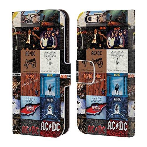 Officiel AC/DC ACDC Couvertures D'Album Collage Étui Coque De Livre En Cuir Pour Apple iPhone 6 / 6s
