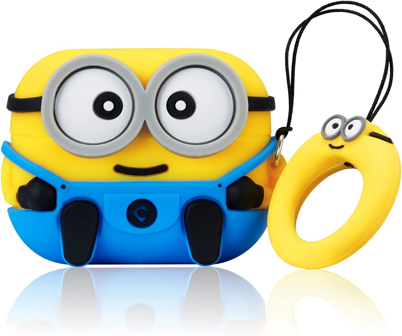 Coralogo Case for Airpods Pro/3 Cute, 3D Animal Minion Fashion Character Soft Silicone Cartoon Airpod Skin Funny Fun Cool Keychain Design Kids Teens Girls Boys Cover Cases Air pods 3 (Blue Two Eye)
