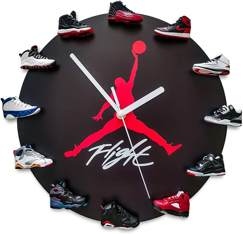 JoonieHouse Air Jordan Wall Clock with 3D Mini Sneakers, Sneakerhead Style Decor Air Jordan 1-12 Clock for Kids Birthday Gift