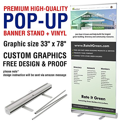 UV centre - Roll up banner stands with vinyl print - Retractable banner stand with custom graphic (stand + vinyl) 33 inches - Banner Print