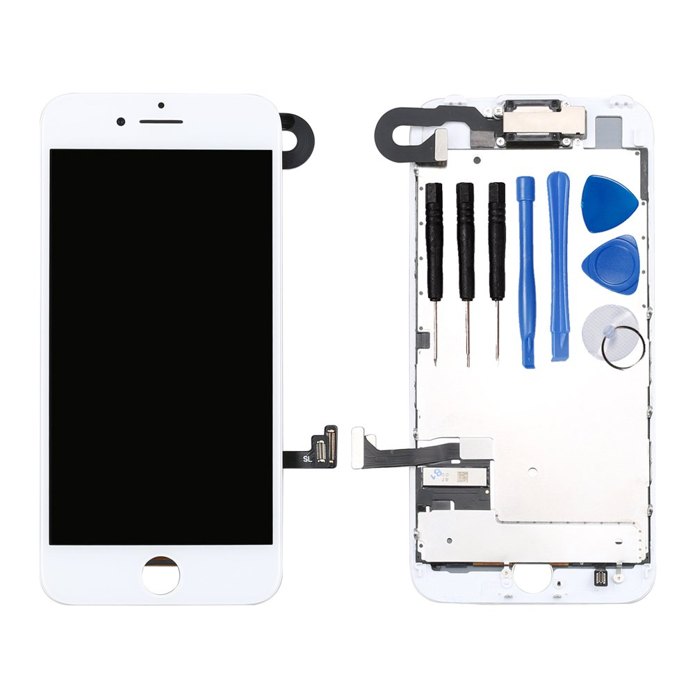 Ayake White Screen Replacement for iPhone 7 4.7'' - Full LCD Digitizer Display Assembly with Front Facing Camera, Earpiece Speaker Pre Assembled and Repair Tool Kits
