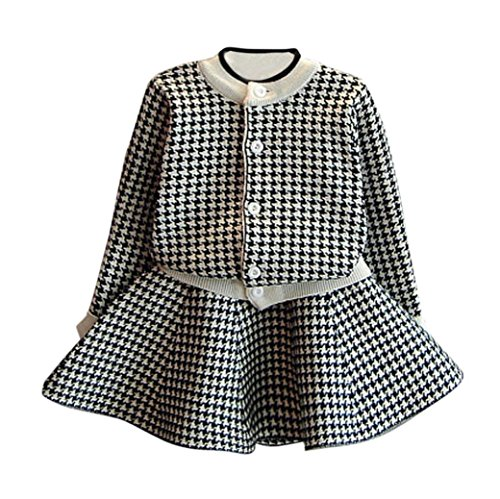 Honhui Toddler 2017 Hot Kids Baby Girls Winter Plaid Knitted Sweater Coat Tops+Skirt Outfit Clothes Set (9, Black) (Knit Needle 13inch Set)