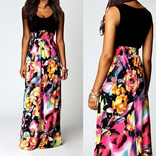 Negro Floral Elegantes Playa Vestidos Largos Cóctel de Mujer de Boho Amlaiworld Vestidos Mujer Mujer Playa Boda Vestido largos Largo Fiesta Verano Vestido Maxi p1WBZ