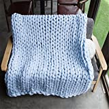 Washable Chunky Blanket, Arm Knitted Throw Blanket, Chunky Blanket, Bulky,Super Knitted Blanket, Chunky Knits, Fireplace Blanket (Bed Runner: 50x160 cm, Blue)