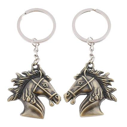 Ladies Men Girls Boys Gift Bag charm Vintage Bronze Horse Head Keychain