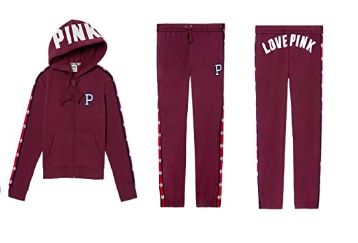01f7ee42251 VS PINK Victoria s Secret Pink Perfect Full Zip Hoodie   Campus Pant Set  (Maroon