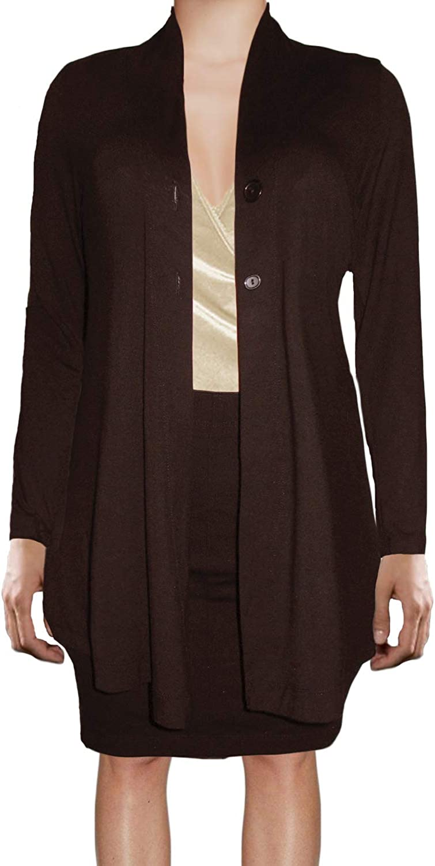 Ooh La La Womens Jersey Knit Flared Lightweight Draping Cardigan Sweater Jacket