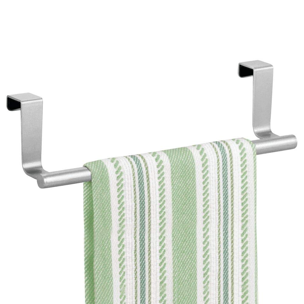mDesign Decorative Metal Kitchen Over Cabinet Towel Bar - Hang on Inside or Outside of Doors, Storage and Display Rack for Hand, Dish, and Tea Towels - 9.8 Inches Wide - Chrome