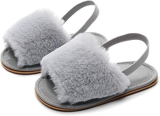 Toddler Girls Boys Slippers Elastic Back Strap Non Slip Animal Bowknot House Home Wear