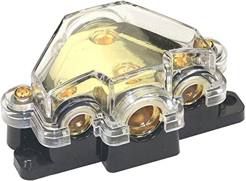 3 3 0//2//4 In /& Stereo Platinum ANL Distribution Block 4//8 Ga Out w//Adapters