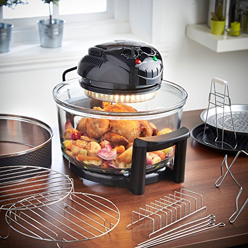VonShef Premium 12L Black Halogen Air Fryer Oven 1400W, Includes 8 Accessories, Timer & Extender Ring