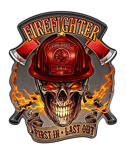 (Firefighter Flaming Skull Novelty Sign | Indoor/Outdoor | Funny Home Décor for Garages, Living Rooms, Bedroom, Offices | SignMission personalized gift Wall Plaque Decoration)