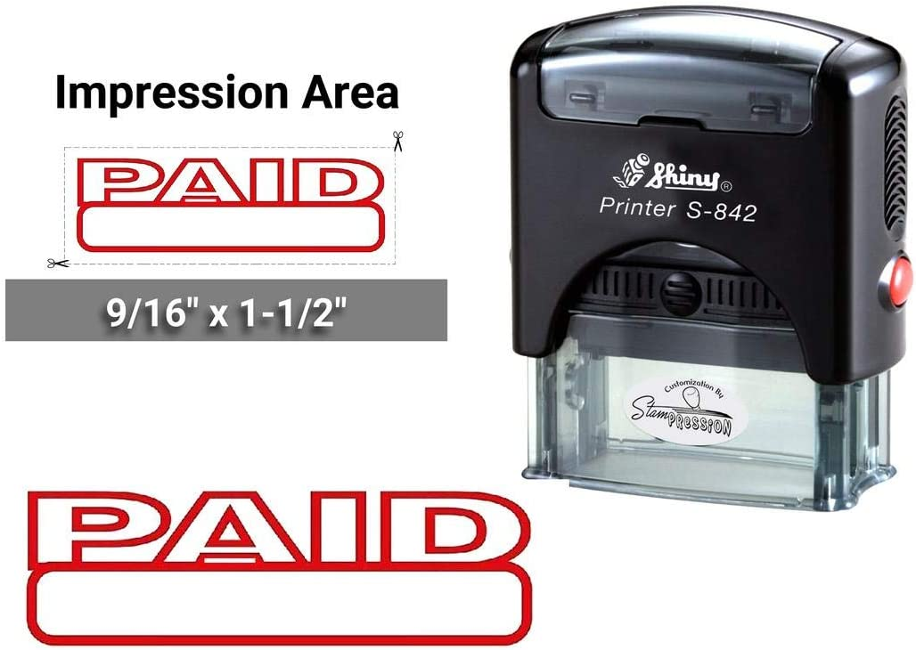 Paid Color Red Shiny S-842 Self-Inking Clear Print Text Rubber Stamp Office Stationary Stamps