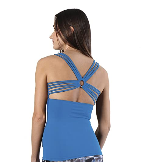 261c8fd5c5a1c Amazon.com  Women s Yoga Tops Workouts Tanks Criss Cross Back Candy Color Racerback  Tank Tops with Build in Bra (XL