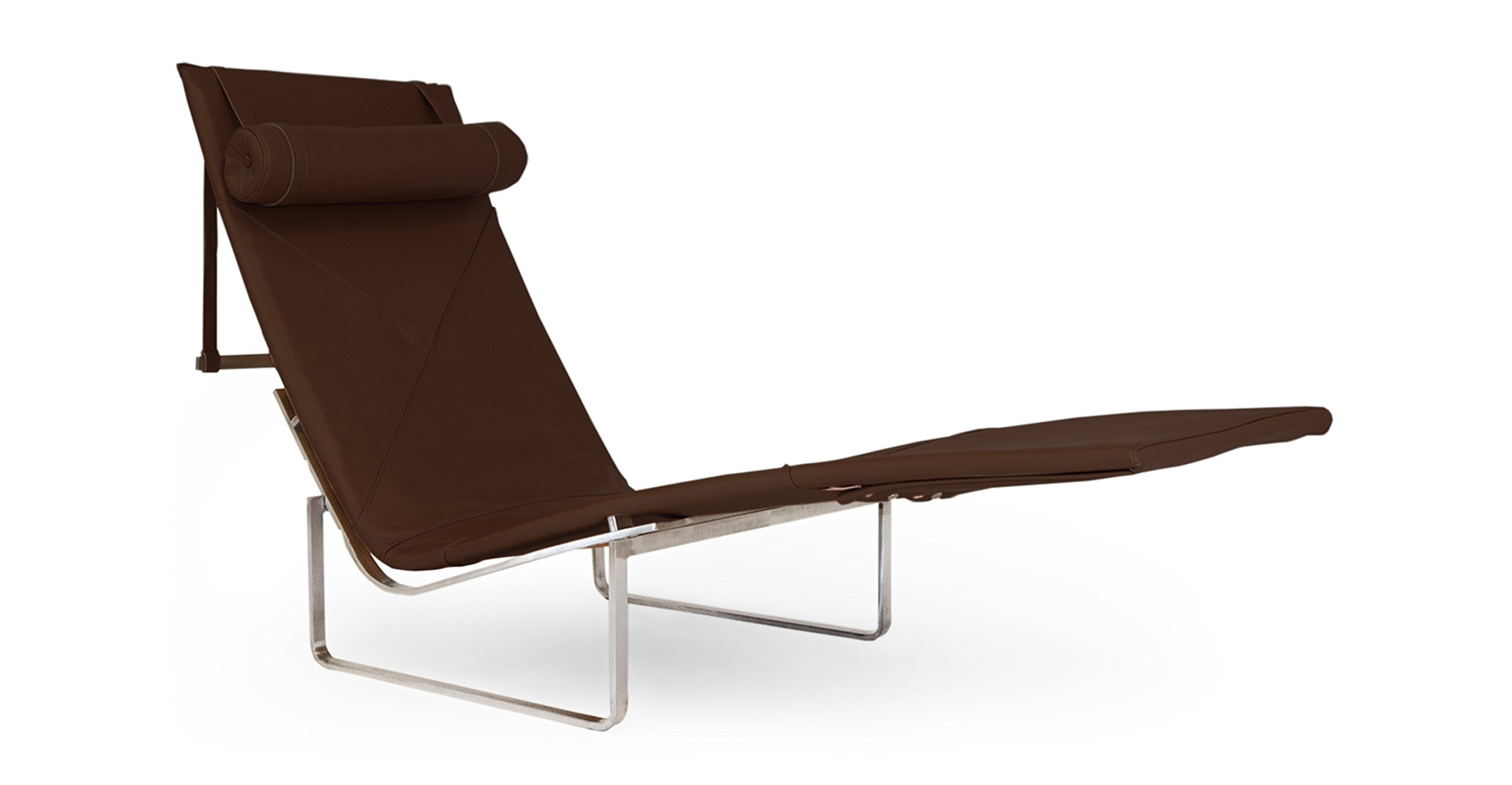 Kardiel PK24 Modern Chaise Lounge Chair, Coco Brown Aniline Leather/Stainless Steel