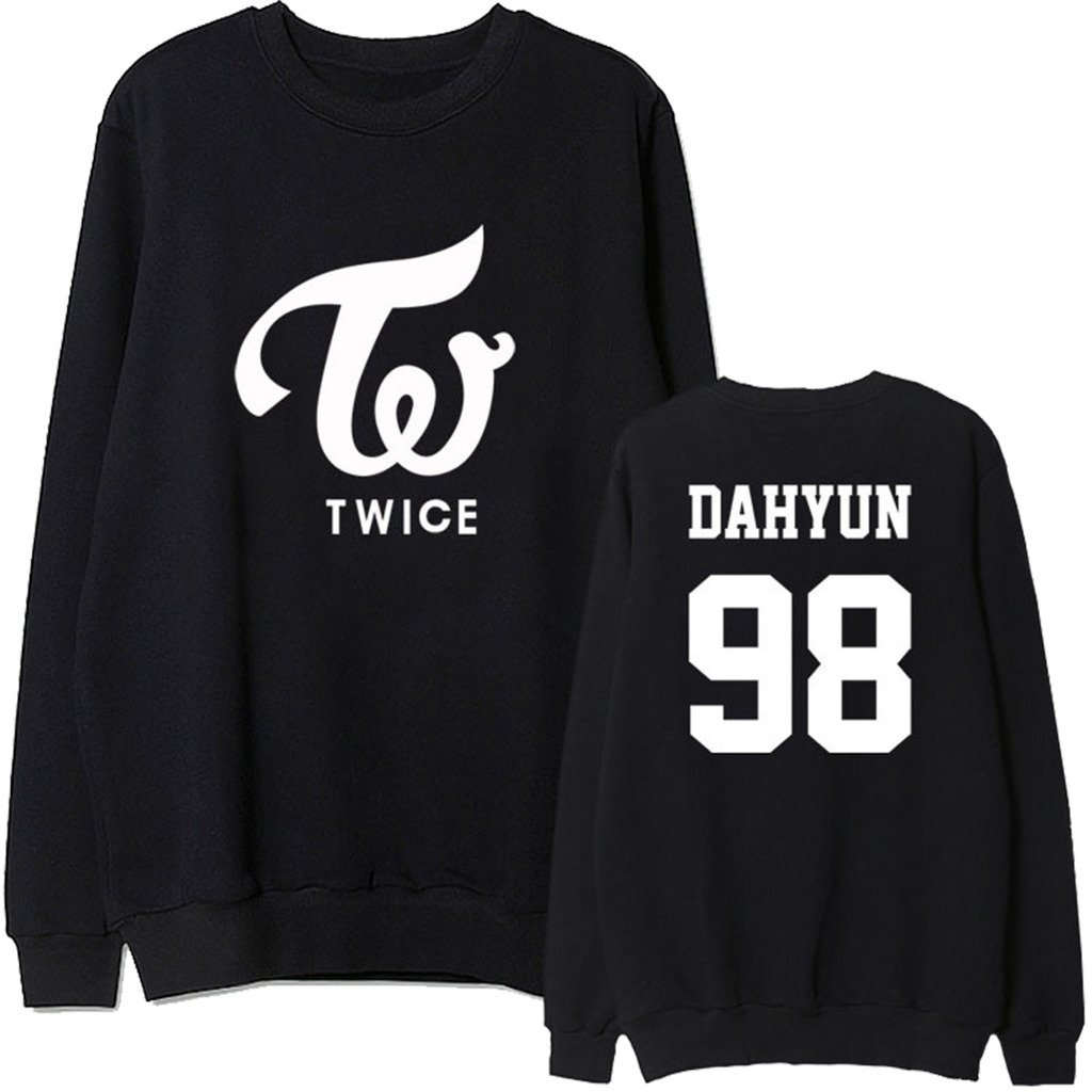 TWICE Same Style Pullover Sweater Uniform TZUYU MOMO SANA Hoodie L Black&DAHYUN98