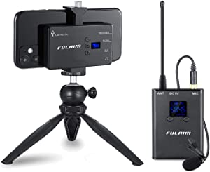 FULAIM Wireless Lavalier Microphone System for iPhone 11 XR Max 8 Plus 7 6 SE Android Smartphone, DSLR Camera-Professional Lapel Microphone System for Interview YouTube Vlogging Video Recording(MX11)
