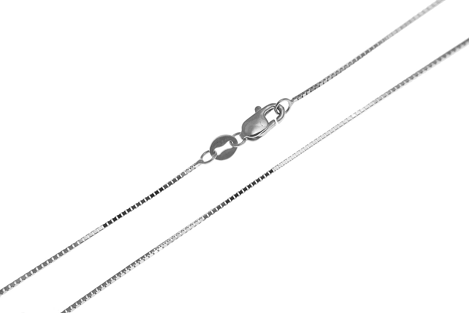 14K solid white gold 0.65mm box chain necklace lobster clasp 16-24