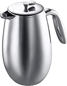 Bodum Columbia Insulated French Press Coffee Maker Pot Plunger 8 Cup 1.0L Polished - Shiny