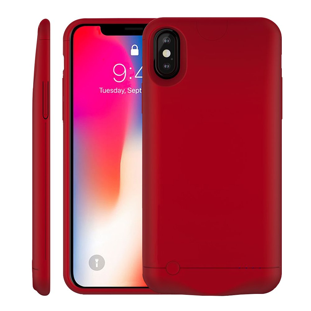 iPhone X Battery Case, MAXBEAR 5200mAh Ultra Slim Portable Extended Backup Battery Charger Case Charging Case Battery Pack iPhone X, iPhone 10(5.8inch)-Red