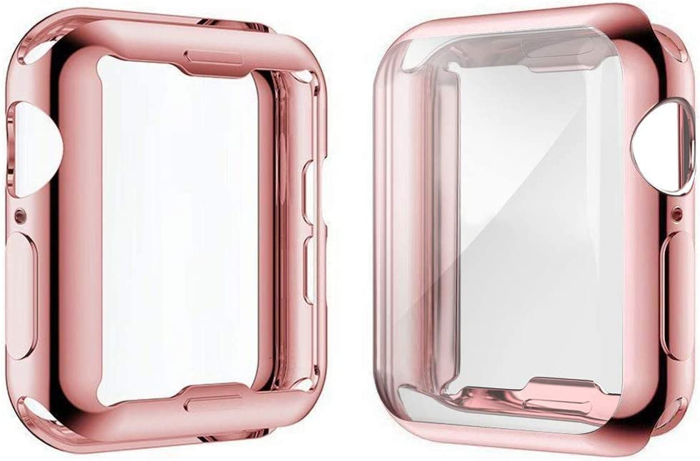 [2-Pack] Julk Case for Apple Watch Series 5 / Series 4 Screen Protector 40mm, 2019 New iWatch Overall Protective Case TPU HD Ultra-Thin Cover for Series 5/4 (1 Rose Pink+1 Transparent)