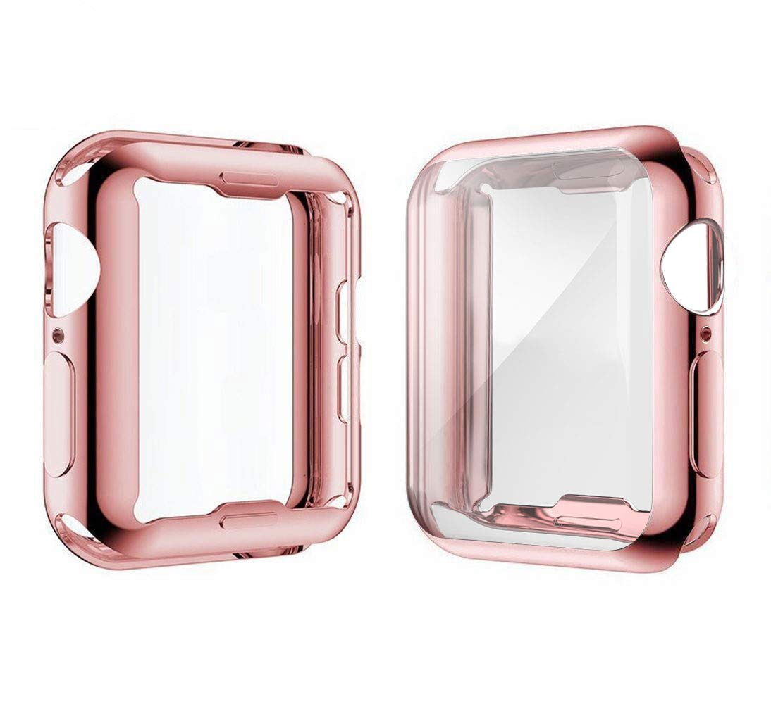 [2-Pack] Julk Case for Apple Watch Series 5 / Series 4 Screen Protector 40mm, 2019 New iWatch Overall Protective Case TPU HD Ultra-Thin Cover for Series 5/4 (1 Rose Pink+1 Transparent) by Julk