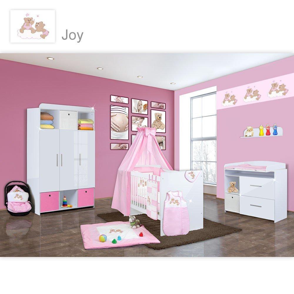 Babyzimmer Mexx in Weiss Hochglanz 20 tlg. mit 3 türigem Kl. + Joy Rosa