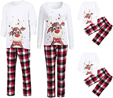 Pijamas de Navidad para la Familia - Rayas Pijamade Dos Piezas deTop Manga Larga Pantalones Familiar a Juego Navidad Hombre Mujer Niños Niña Chica ...